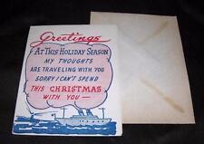 VTG UNUSED 1940'S PATRIOTIC WWII RED, WHITE, BLUE HUMOROUS XMAS CARD W ENVELOPE