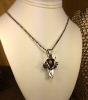 Vintage sterling silver Tiger's Eye Gemstone Fork Pendant W/Necklace Over 38 Gr!