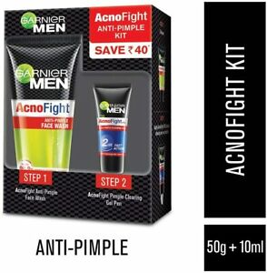 New Garnier Men AcnoFight Anti-Pimple Acne Kit face wash + Face Gel SALICYLIC UK