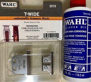 Wahl Detailer Double Wide Trimmer T-Blade 2215 & Wahl 4 oz Oil   043917221502,