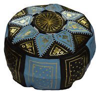 Ottoman Footstool Poof Moroccan Hand Made Leather Pouf Hassock Black/Light Blue