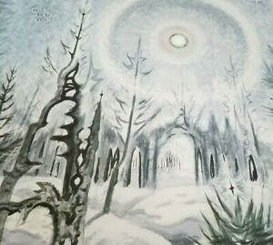 WINTER MOONLIGHT by Charles E Burchfield Watercolor Print