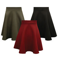 Womens Ladies Quilted Skater Skirt