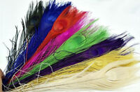 25-30cm Dyed Peacock Feathers Burnt Peacock Tail Millinery DIY Trim Costume 5pcs