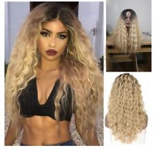 Synthetic Wig Kinky Curly Ombre Blonde Heat Safe Natural Hair Full Wig for Women
