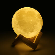 3D LED Full Moon Print Night Light Personality Desk Rechargeable Lamp 13cm
