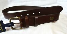 Polo Ralph Lauren Belt Leather Brown Antique Brass Buckle SIZE 42  NWT $65