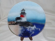 Fused Glass Decorative Plate - Lighthouse Light House signed