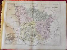 Old Map 1900 France Département Nièvre Nevers Decize la Charité Château-Chinon
