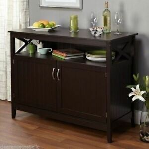 Espresso Brown Wooden Buffet Sideboard Server Storage Cabinet China Shelf Curio