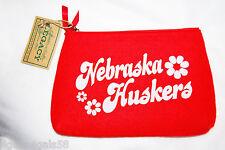 NE NEBRASKA HUSKERS Red Felt Case Cosmetic Pouch 6x9 made w Recycled  Bottles