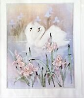 "Needle Treasures Countless Cross Stitch Kit Swans in Iris Pond 16""x20"" USA Made"