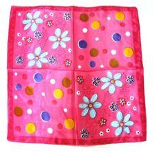 Hot pink flora Soft Neckerchief Shawl Head Bandanas Square Scarf Satin