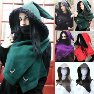 Medieval Gothic Women's Hooded Waistcoat Shawl Cape Halloween Cosplay Costume