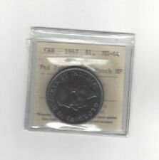 **1947 Pointed 7 Quad HP**, ICCS Graded Canadian Silver Dollar **MS-64**