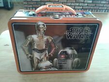 Star Wars The Force Awakens R2-D2 C3PO Tin Lunch Box Case Carry All Bag
