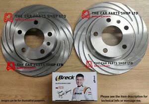 FOR FORD MONDEO 2.0 TDCI MK5 14-18 GROOVED REAR BRAKE DISCS + BRECK PREMIUM PADS