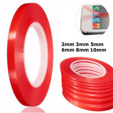 New 50M Double Sided Super Sticky Clear Tape Red Strong Craft DIY 2 3 5 6 8 10mm