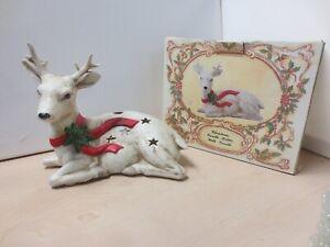 Christmas Reindeer Candle Holder Fine Porcelain Hand Painted Length 23cm S30