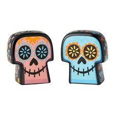 Coco Skulls Ceramic Walt Disney Salt and Pepper Set Enesco Day Of The Dead