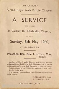 Apprentice Boys Derry Orange Order Ulster Loyalist Grand Royal Arch Flyer 1960