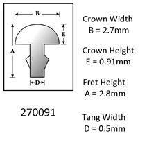 Sintoms 18% Nickel Silver Fret Wire 2.7mm. Set of 12 pieces