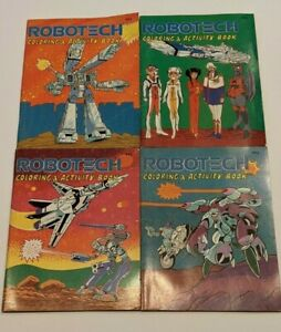 Lot of 4 Vintage Robotech Coloring and Activity Books 1985  Anime Tatsunoko