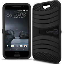 for HTC One A9 Case - Black Hybrid Tough Skin Phone Cover