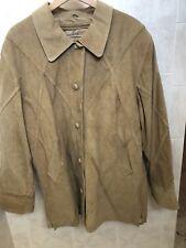* Dennis Basso * Vintage Beige Suede Leather Jacket Coat Women's Xl
