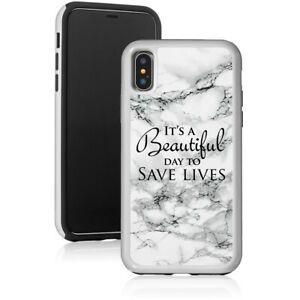 Marble Shockproof Hard Case For Apple iPhone It's A Beautiful Day To Save Lives