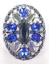 Brooch Pin - LC Liz Claiborne Oval Flower Filigree Blue Rhinestones Silver Tone