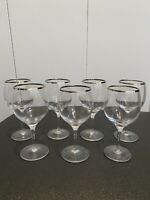 "VINTAGE SET OF 7 SILVER RIMMED WINE GLASSES 6"" TALL BARWARE MID CENTURY MODERN"