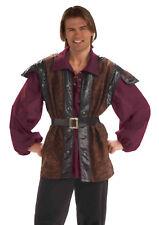 Men's Medieval Mercenary Renaissance Shirt & Vest Belt Combo Adult One Size