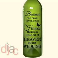 VINYL DECAL HEAVEN AT OUR WEDDING for WINE BOTTLE, CANDLE, LANTERN 17.5 X 8 cm