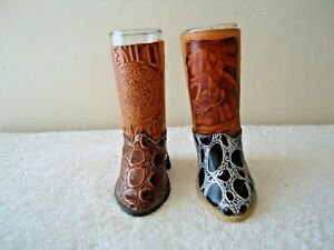 "Set Of 2 Tall Cowboy Boot Shot Glass Holders With Shot Glasses "" BEAUTIFUL SET"