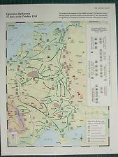 WW2 WWII MAP ~ OPERATION BARBAROSSA 22 JUN-OCT 1941 GERMAN & SOVIET ATTACKS