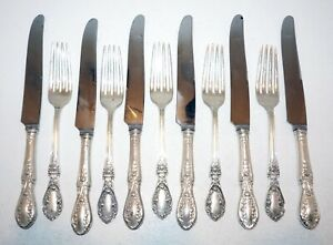 11Pc US Sterling Silver Fork & Knife American Beauty Manchester Silver (ThB)#1