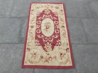 Old Hand Made French Design Wool Maroon Red Original Aubusson 145X78cm