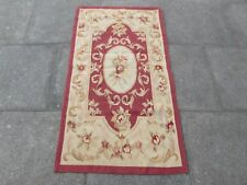 Old hand made design francese Lana Maroon Rosso ORIGINALE Aubusson 145X78cm