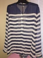 Old Navy Sheer Navy Nautical Stripe Long Sleeve Women's Blouse SZ XL