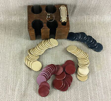 Antique Gaming Set Poker Chips Gambling Set Caddy Art Deco Wooden Games