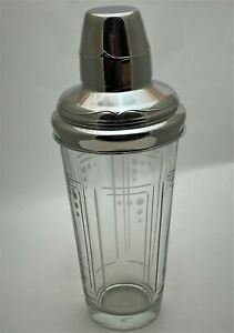 Princess House 2007 Aston Etched Deco Cocktail Shaker with Lid