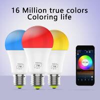 E27 WiFi Smart Light Bulbs RGB+CW LED Lamp Amazon Alexa/Google Home App Control