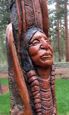 Wood Spirit Carving Western Old West Sculpture Art Native American Indian Head