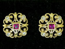 E075 - Genuine 9ct Gold NATURAL Ruby & Diamond Fleur-de-lis Stud Earrings