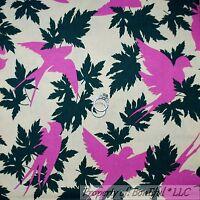 BonEful Fabric FQ Cotton Quilt B&W Green Leaf BIRD Pink Flower Victorian Cottage