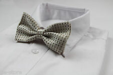 MENS GOLD WHITE AND CREAM PATTERN BOW TIE PRE-TIED MEN'S BOWTIE WEDDING FORMAL