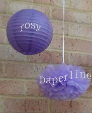 8x lilac paper pom poms Purple lanterns wedding 30 Birthday party venue decor