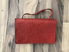 J Crew Vintage Mexican Genuine Red Leather Hand Bag Clutch Purse