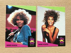 2 Whitney Houston trading cards